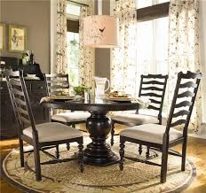 round dining table w 4 ladder back side chairs by paula deen by