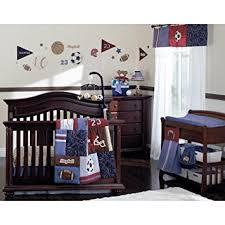 amazon com nojo play ball 9 piece crib bedding set navy red