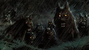 Scary Halloween Animals by Dark Werewolf Hellhound Animals Wolf Wolves Fangs Demons Evil