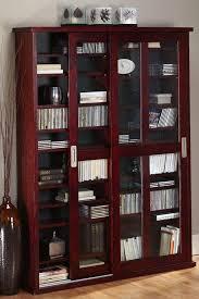 oak veneer double multimedia case with glass doors media cabinet