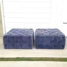 Ottoman Design Large Blue Tufted Velvet Ottoman Plush Design Of Outstanding Blue