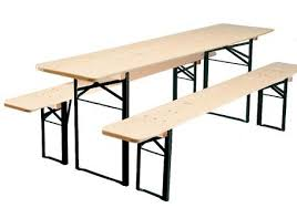 Folding Wood Picnic Table Biergarten Folding Wood Table And Bench Set