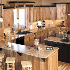 Mirror Backsplash Kitchen Pine Wood Dark Roast Lasalle Door Rustic Hickory Kitchen Cabinets