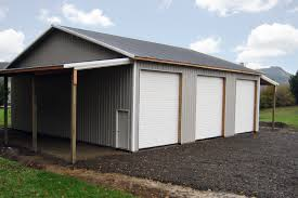 Shed Overhead Door 48 X 48 X 16 Pole Building With 3 Overhead Doors And 2 Lean