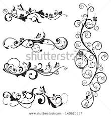 collection vintage floral silhouette designs butterflies stock