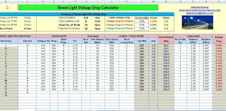 energy of light calculator calculate voltage drop and no s of street light pole excel