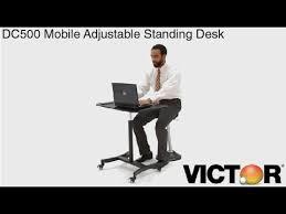 victor dc500 high rise mobile adjustable standing desk youtube