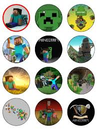 minecraft edible cake topper 12 x edible icing minecraft cup cake toppers 2 1 inches each