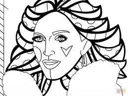 madonna by romero britto coloring page free printable coloring pages