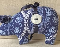 blue butterflies ornament ornament fabric pig