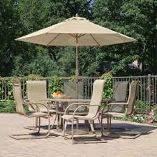 Patio Set Umbrella Furniture Ideas Patio Dining Set With Umbrella And Brown Cushion