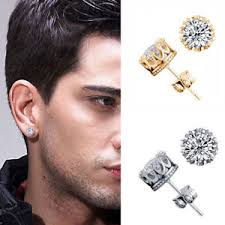 s mens earrings 10mm men women sterling silver post stud crown cubic zirconia