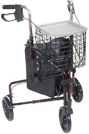 senior walkers with wheels 3 wheel rollator walker with basket tray and pouch drive