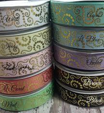 designer ribbon 7 8 gold foil scrolls ribbon us designer ribbon wholesale