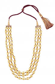 gold plated bead necklace images Silver gold plated three strand dholki necklace jpg