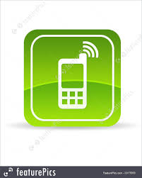 emblems and symbols green mobile phone icon stock illustration