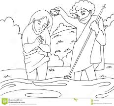 jesus baptism b w lineart royalty free stock photo image 13405065