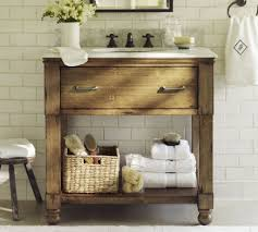 Rustic Tile Bathroom - bathroom with subway tiles and wooden rustic vanity elegant