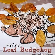 Simple Fall Crafts For Kids - leaf hedgehog messy little monster