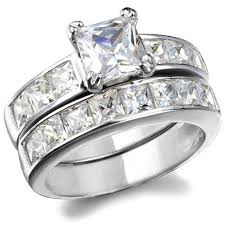 princess cut cubic zirconia wedding sets annabella s sterling silver princess cut cubic zirconia wedding