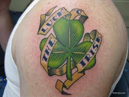 shamrock luck the irish tattoo on left shoulder