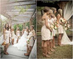 rustic wedding with bridesmaids in cowboy boots country style
