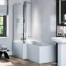 orchard l shaped left handed shower bath 1700mm with 5mm shower