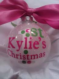 personalized baby s glittered glass ornament with