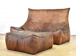 Brown Leather Bean Bag Chair The Rock 4 Seater Sofa With Footstool By Gerard Van Den Berg For