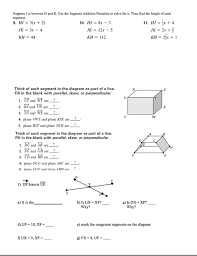 Segment Addition Postulate Worksheet Parallel Perpendicular And Skew Segment Addition Postulate