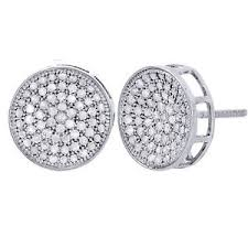 mens earrings 10k white gold diamond circle pave studs concave 12mm mens