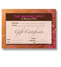 salon gift card waxing gift cards waxing salon gift certificate salon gift card