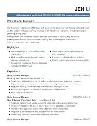 Resume Template For Hospitality Sample Resume For Hospitality Resume Hospitality Hotel Amp