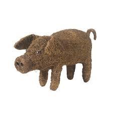 poppy pig rattan garden ornament at homebase co uk