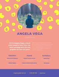 colorful visual artist resume templates by canva