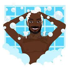 clipart uomo uomo prendendo doccia igiene silhouette illustratore vettoriale