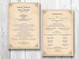 vow renewal ceremony program retro wedding program order of service ceremony reception