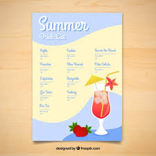 drink menu template free summer delicious drinks menu template vector free