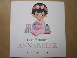 personalised handmade girls 1st first birthday card daughter