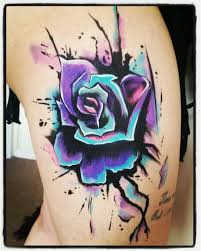 watercolour rose body paint face paint tattoo style colourful