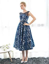 tea length dress formal evening dress a line scoop tea length satin tulle with