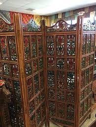 Ebay Room Divider - vintage hand carved hand painted 4 panel floral handcrafted wood