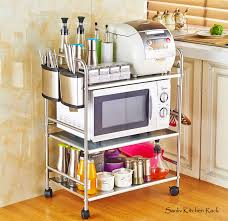 Bakers Rack Chrome Chrome 3 Tier Utility Microwave Stand Storage Kitchen Cart