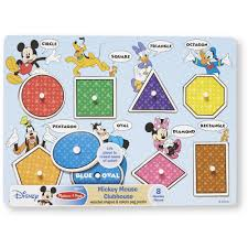 mickey mouse clubhouse wooden shapes and colors peg puzzle