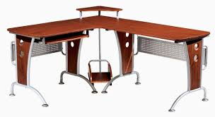 brown wooden desk with l shape design combined with four stand and