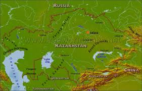 Asia Geography Map Kazakhstan Physical Map
