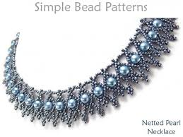 necklace beaded pattern images Beaded netting necklace pattern with pearls jewelry making tutorial jpg