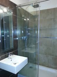Shower Room by Glazed Shower Areas With Square White Sink And Rectangular Mirror