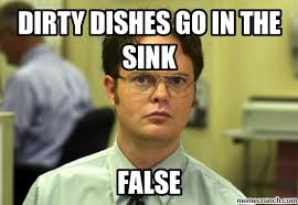 Dishes Meme - dishes go in the sink