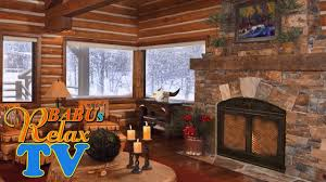 relaxing atmosphere cozy log cabin snowstorm winds blowing